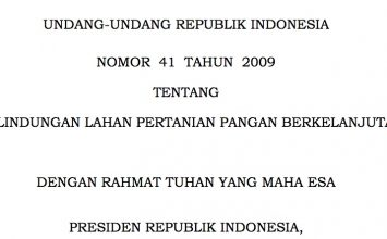 Undang-undang Republik Indonesia No 41 Tahun 2009 tentang Perlindungan Lahan Pertanian Pangan