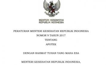 Download Peraturan Menteri Kesehatan Republik Indonesia Nomor 9 Tahun 2017 Tentang Apotek