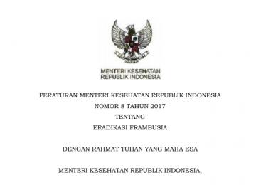 Download Peraturan Menteri Kesehatan Republik Indonesia Nomor 8 Tahun 2017 Tentang  Eradikasi Frambusia