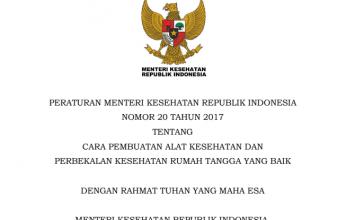 Download Peraturan Menteri Kesehatan Republik Indonesia Nomor 20 Tahun 2017 Tentang Cara Pembuatan Alat Kesehatan Dan Perbekalan Kesehatan Rumah Tangga Yang Baik
