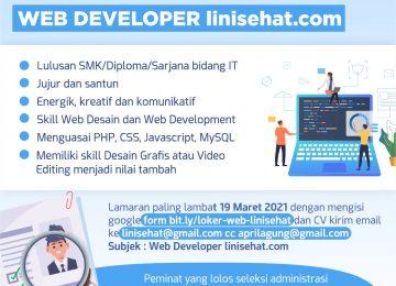 LOWONGAN KERJA WEB DEVELOPER linisehat.com 2021