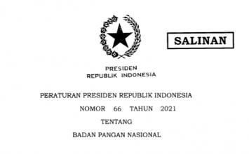 PERATURAN PRESIDEN REPUBLIK INDONESIA NOMOR 66 TAHUN 2021 TENTANG BADAN PANGAN NASIONAL